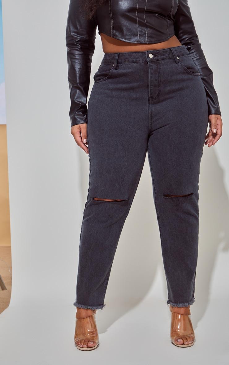 PLT Plus - Jean noir à bordure déchirée 2