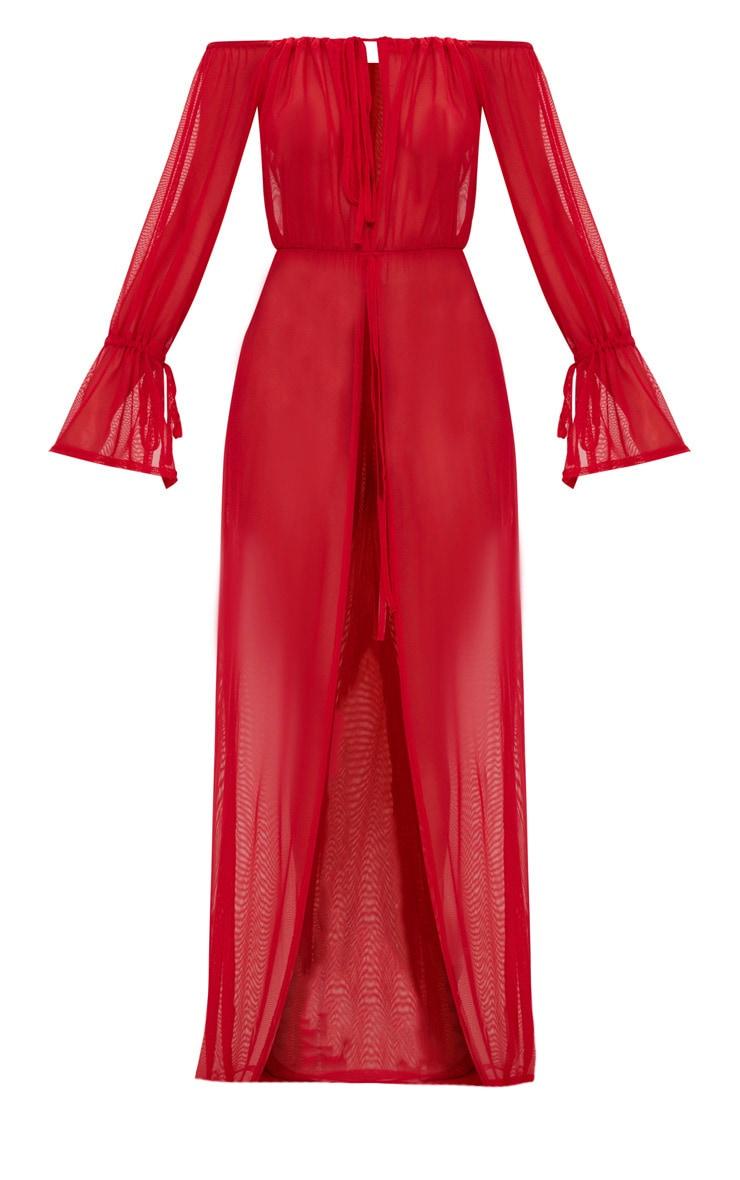 Red Off Shoulder Tie Cuff Beach Dress 3