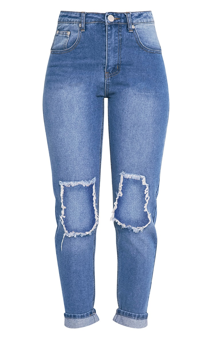 Mid Wash Open Knee Mom Jean 3