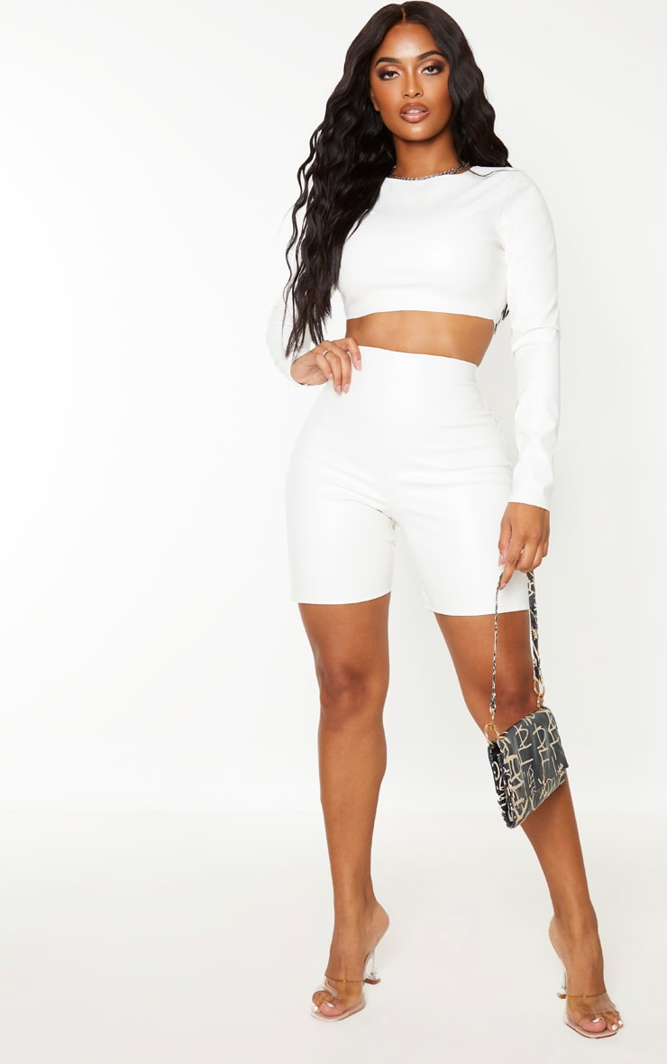 Shape Cream PU Long Sleeve Crop Top 4