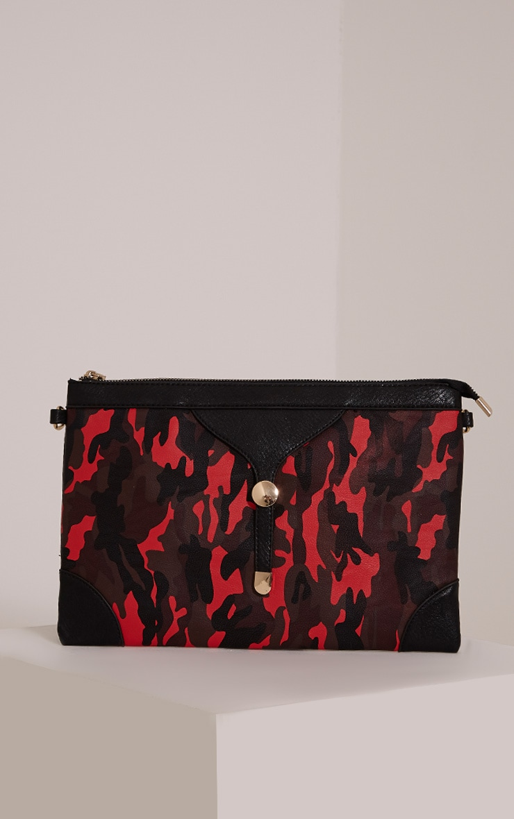 Devin Red Camouflage Clutch Bag 1