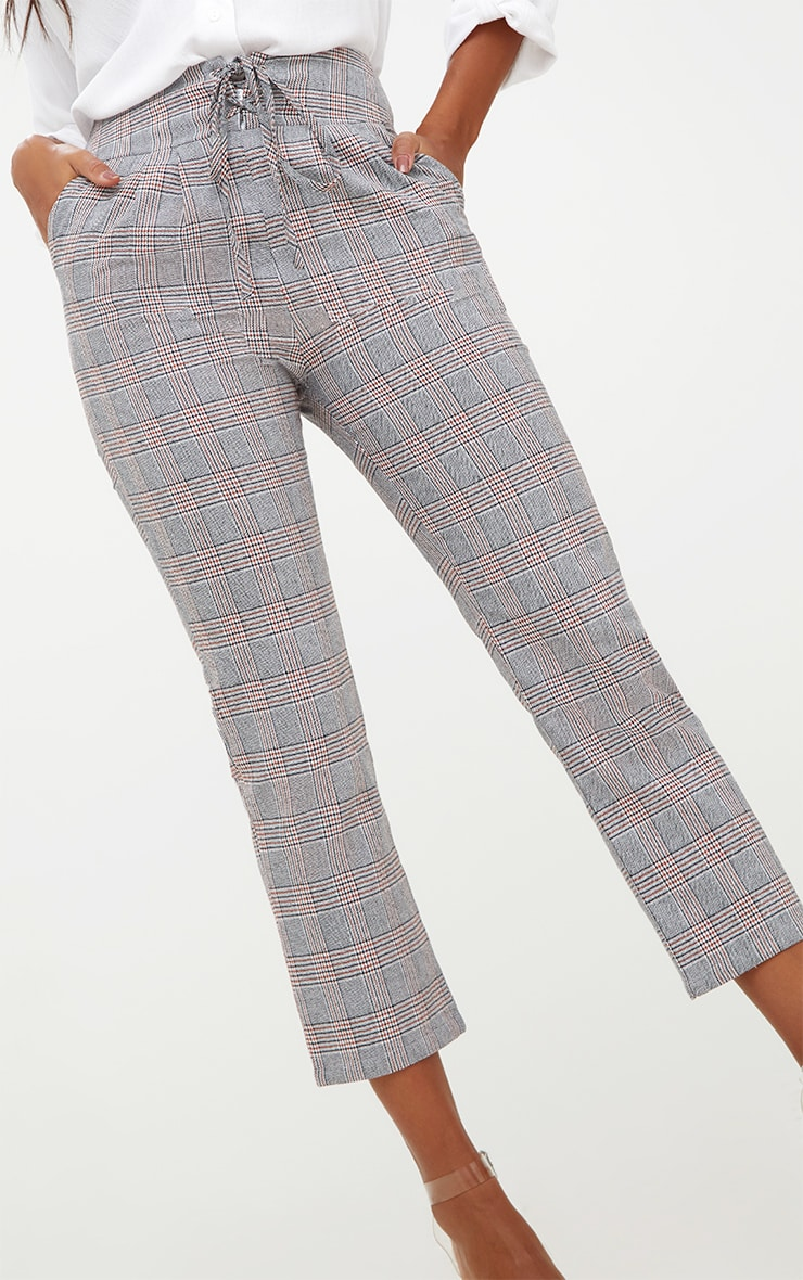 Grey Check Corset Waist Trousers 5