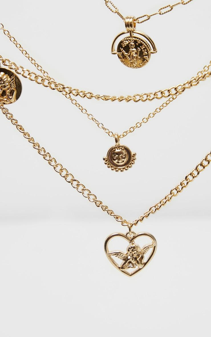 Gold Cherub Charm Multi Layering Necklace 3
