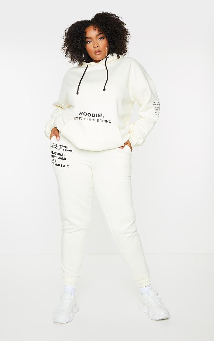 PRETTYLITTLETHING Plus Cream Oversized Slogan Print Pocket Front Hoodie 3