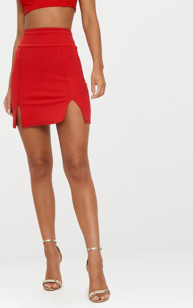 Red Super High Waisted Double Split Hem Mini Skirt  2