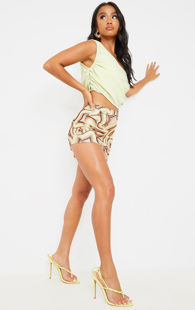 Petite Brown Swirl Print Cut Out Side Skirt 1