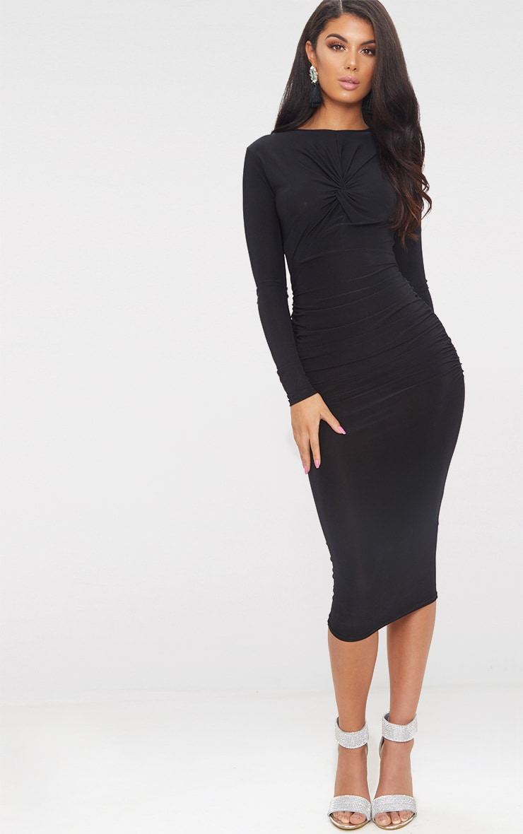 1631e87f7f3 Black Long Sleeve Knot Front Midi Dress | PrettyLittleThing USA
