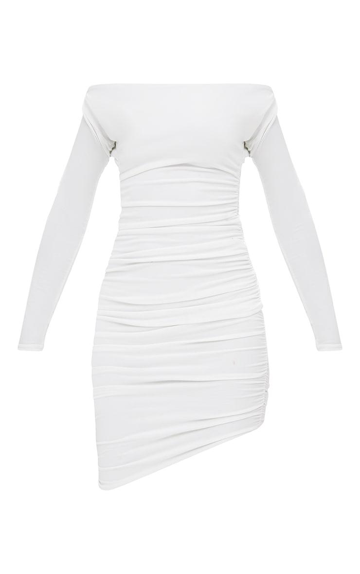 Petite White Slinky Asymmetric Bardot Dress 3