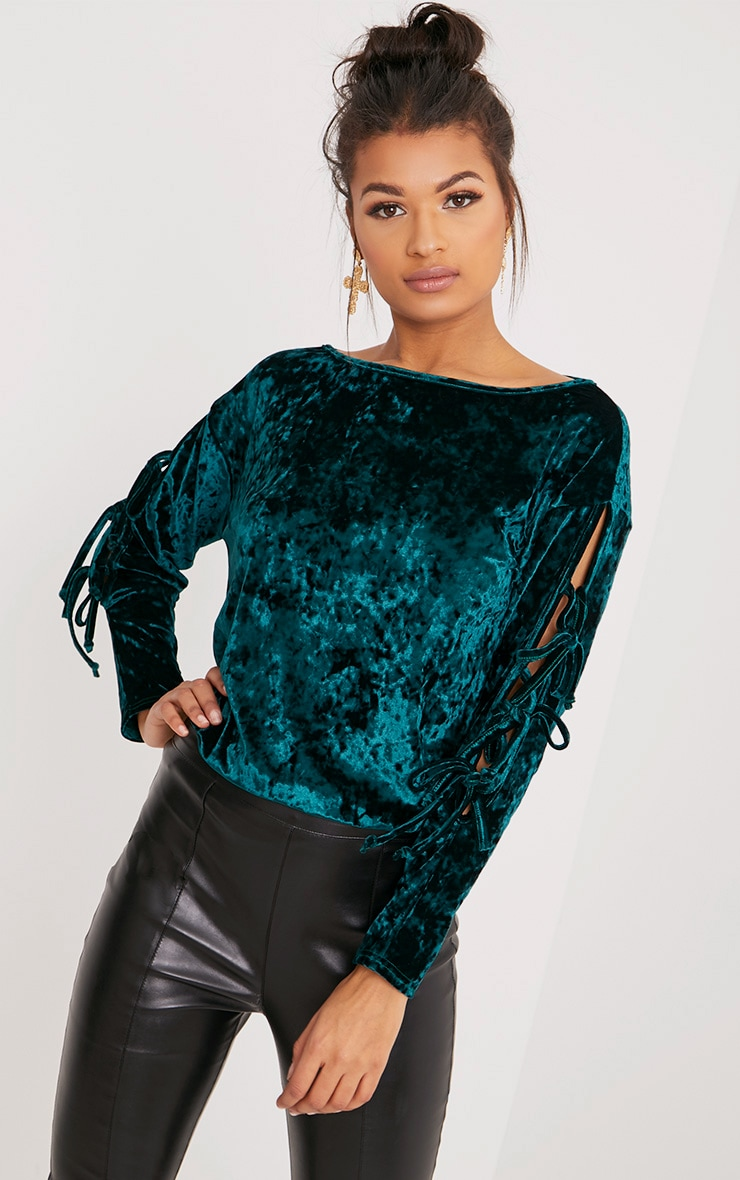 Tonia Bottle Green Crushed Velvet Oversized Tie Sleeve Top 1