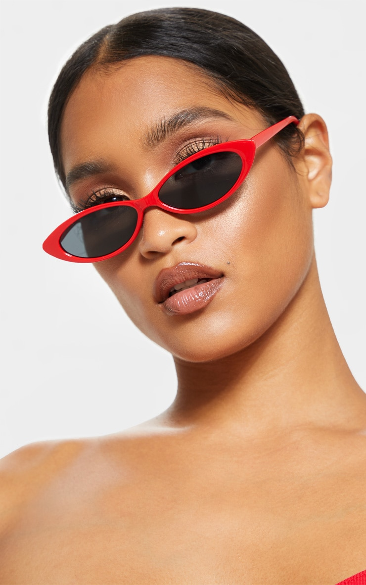 Red Super Slim Cat Eye Sunglasses 1