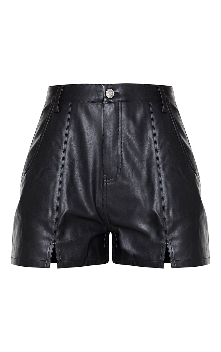 Black Seam Detail Faux Leather Shorts 6