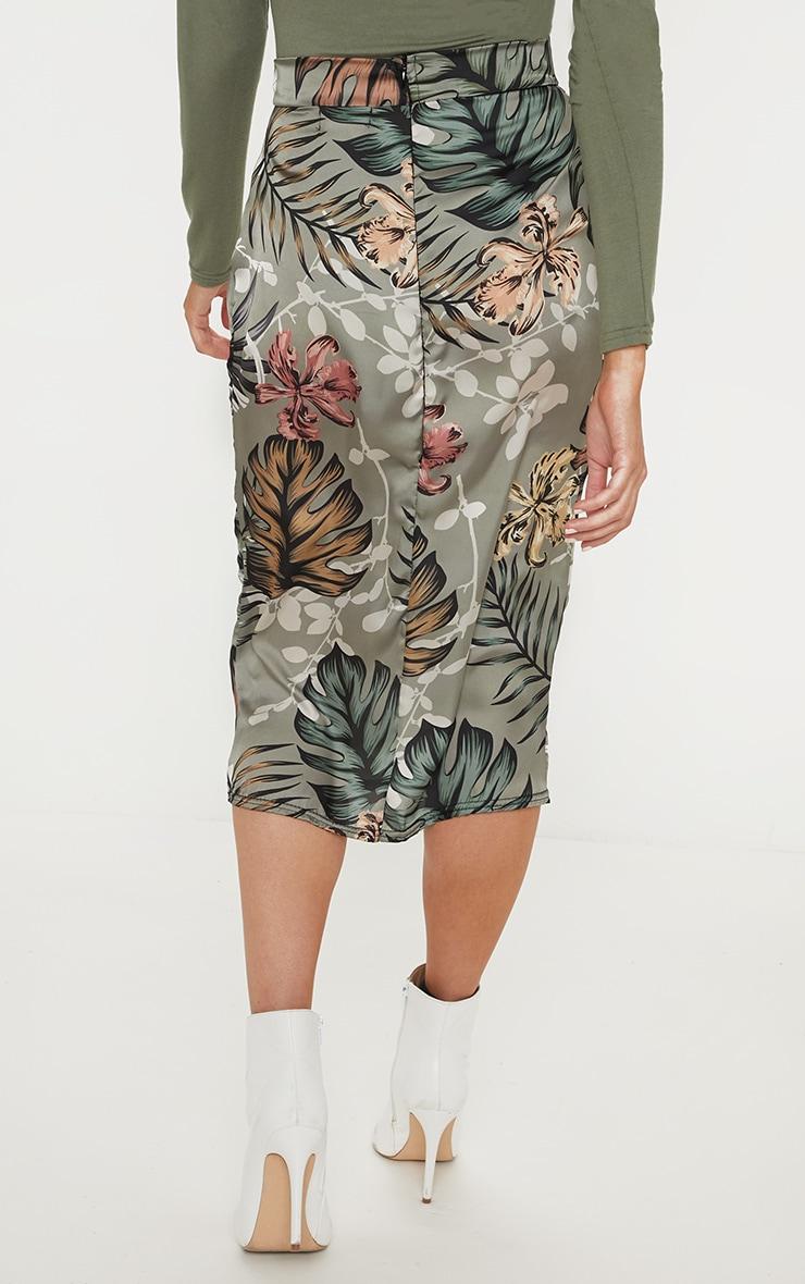 Sage Green Floral Print Satin Pencil Skirt 3