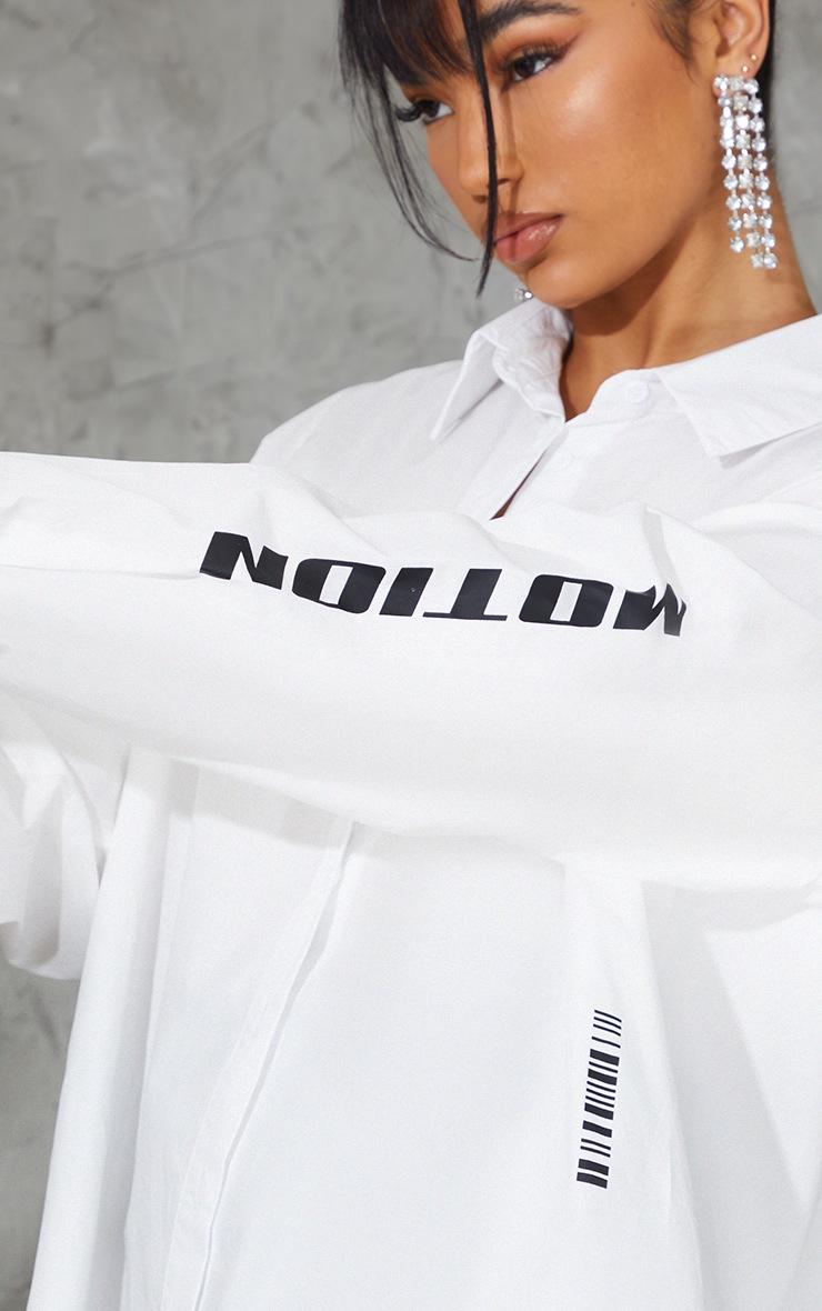 PRETTYLITTLETHING - Chemise oversize blanche à détail manchettes 4