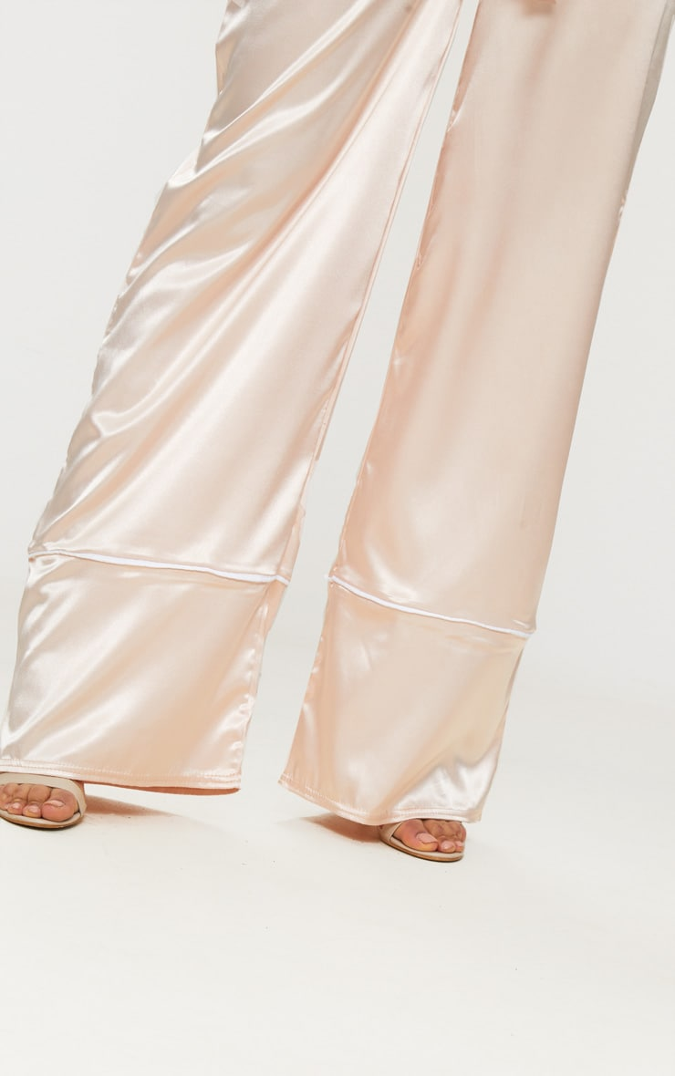 Rose Satin Contrast Trim Wide Leg Trousers 4