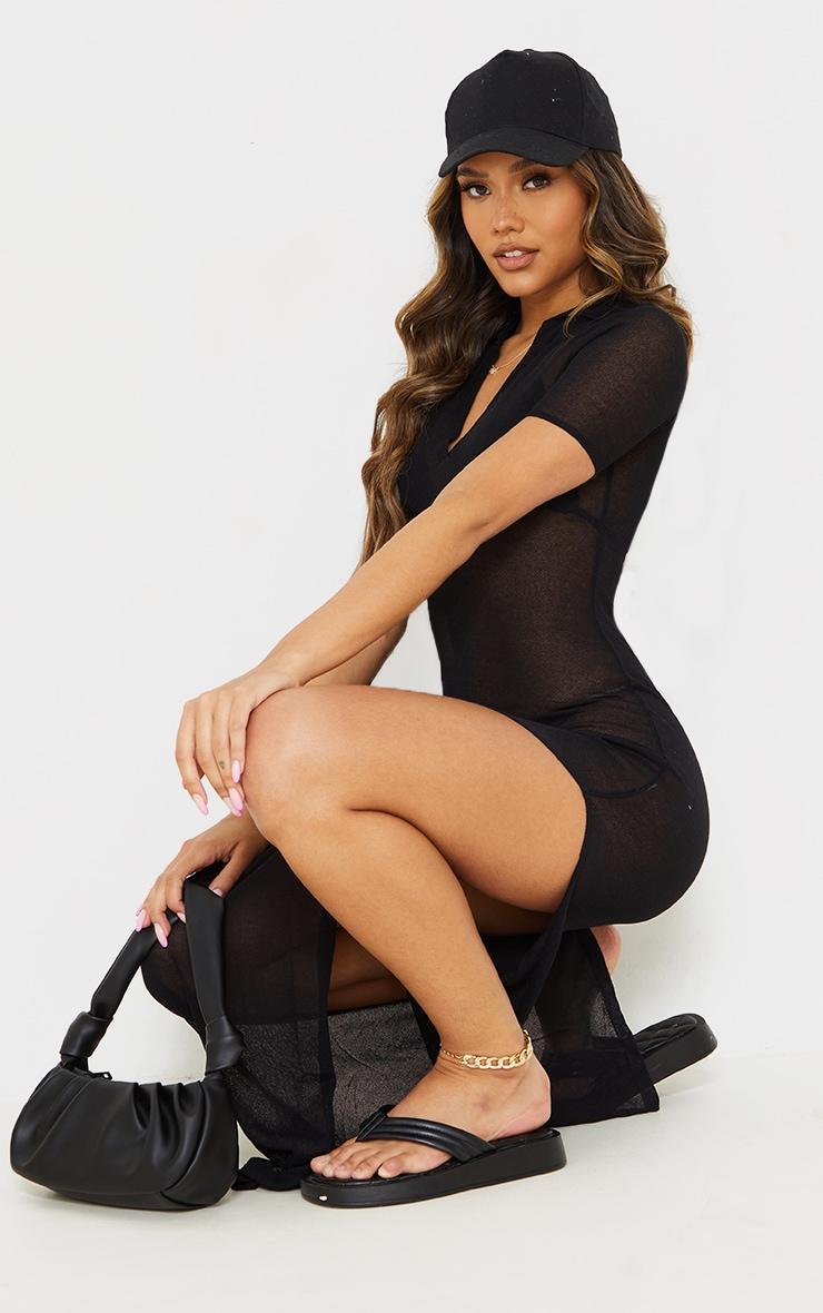 Black Sheer Knit Collar Detail Maxi Dress 3