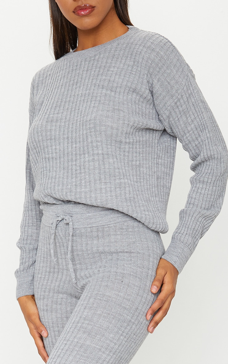 Grey Ribbed Slouchy Sweater Knitted Lounge Set 4
