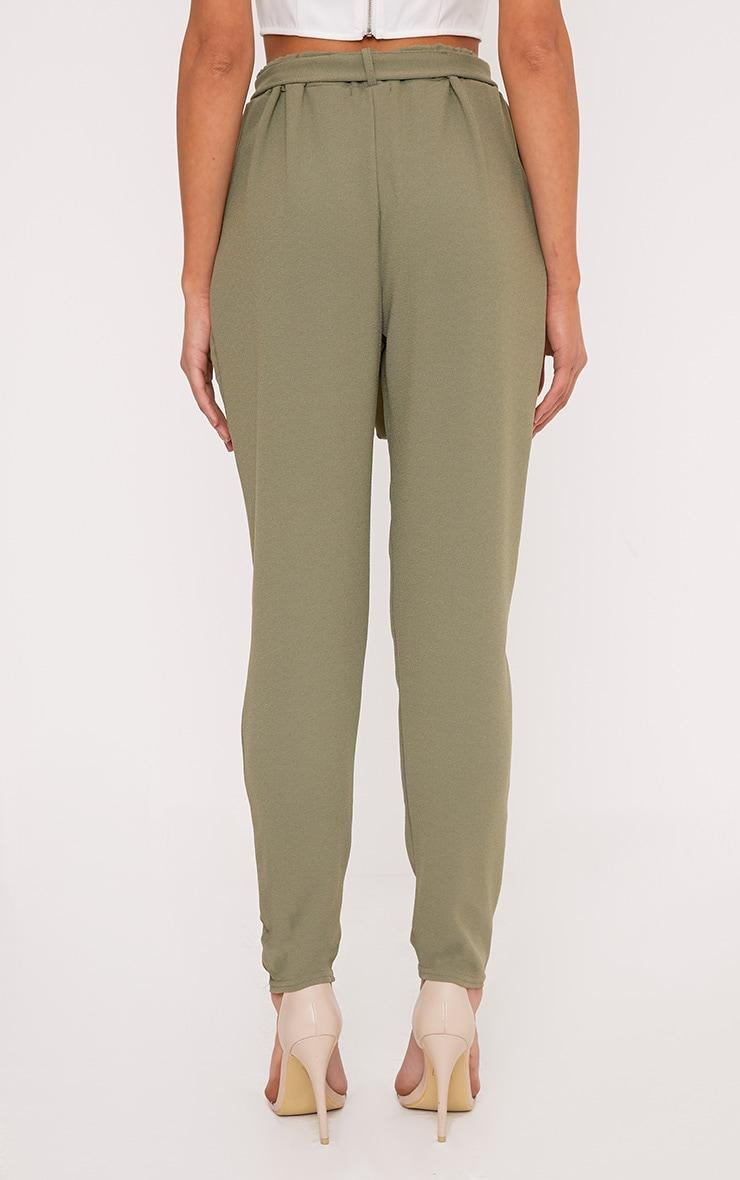 Sachia Khaki Tie Waist Peg Trousers  4