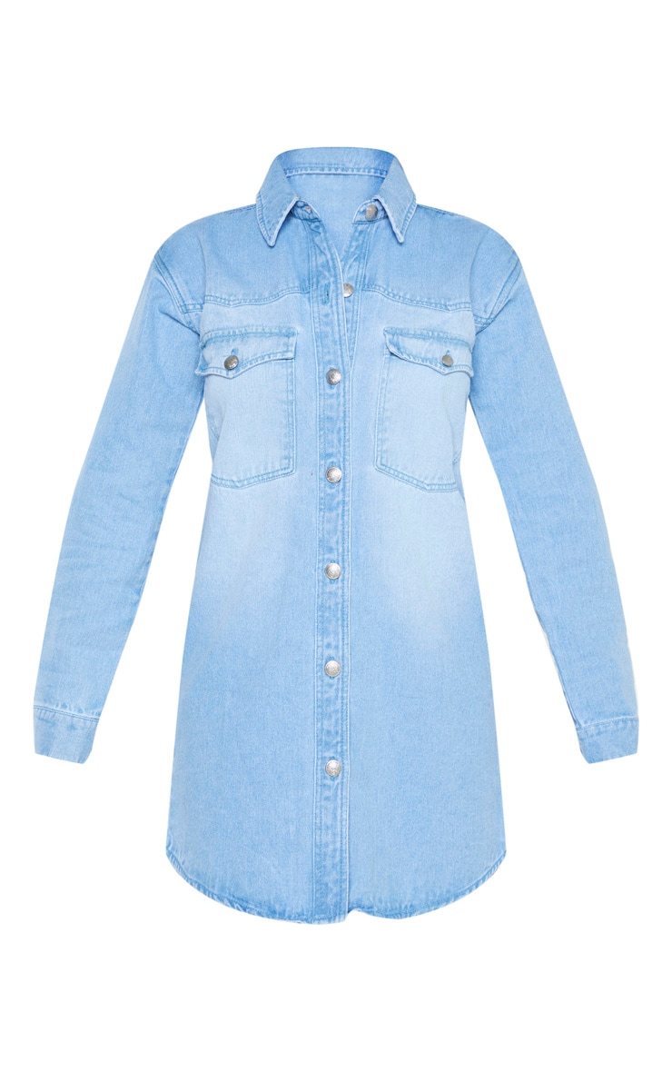 Petite Light Wash Denim Shirt Dress 3