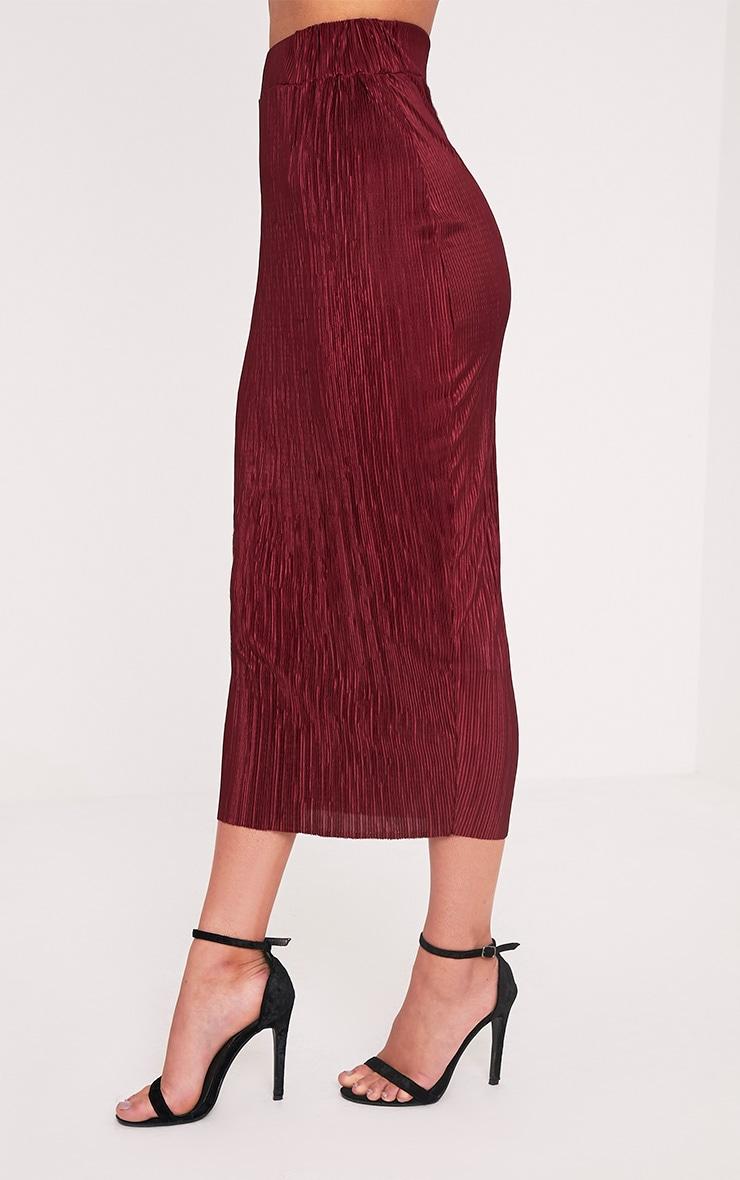 Pernille Burgundy Pleated Long Line Midi Skirt 4