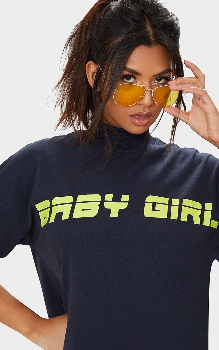 Navy Baby Girl T Shirt Dress 5