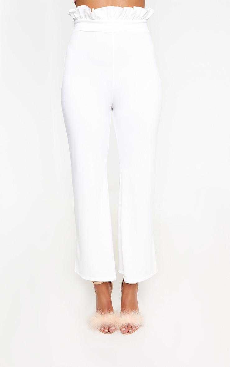 White Paperbag Waist Kick Flare Trousers 2