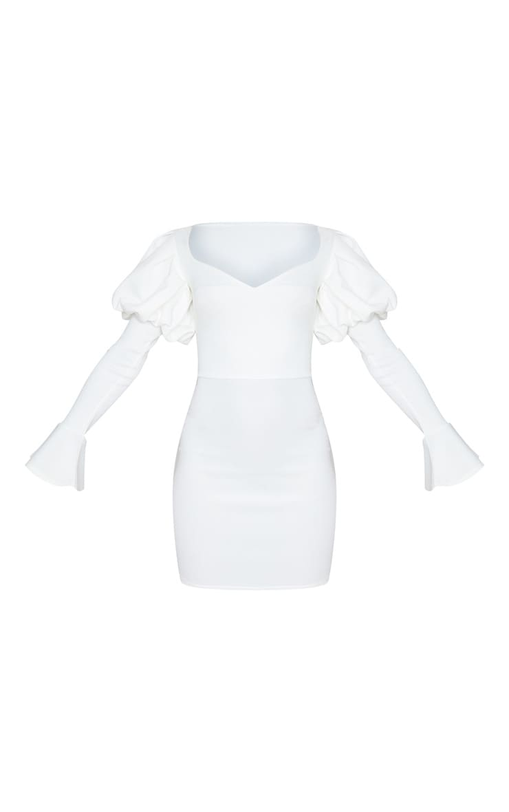 White Scuba Puff Sleeve Bodycon Dress 3