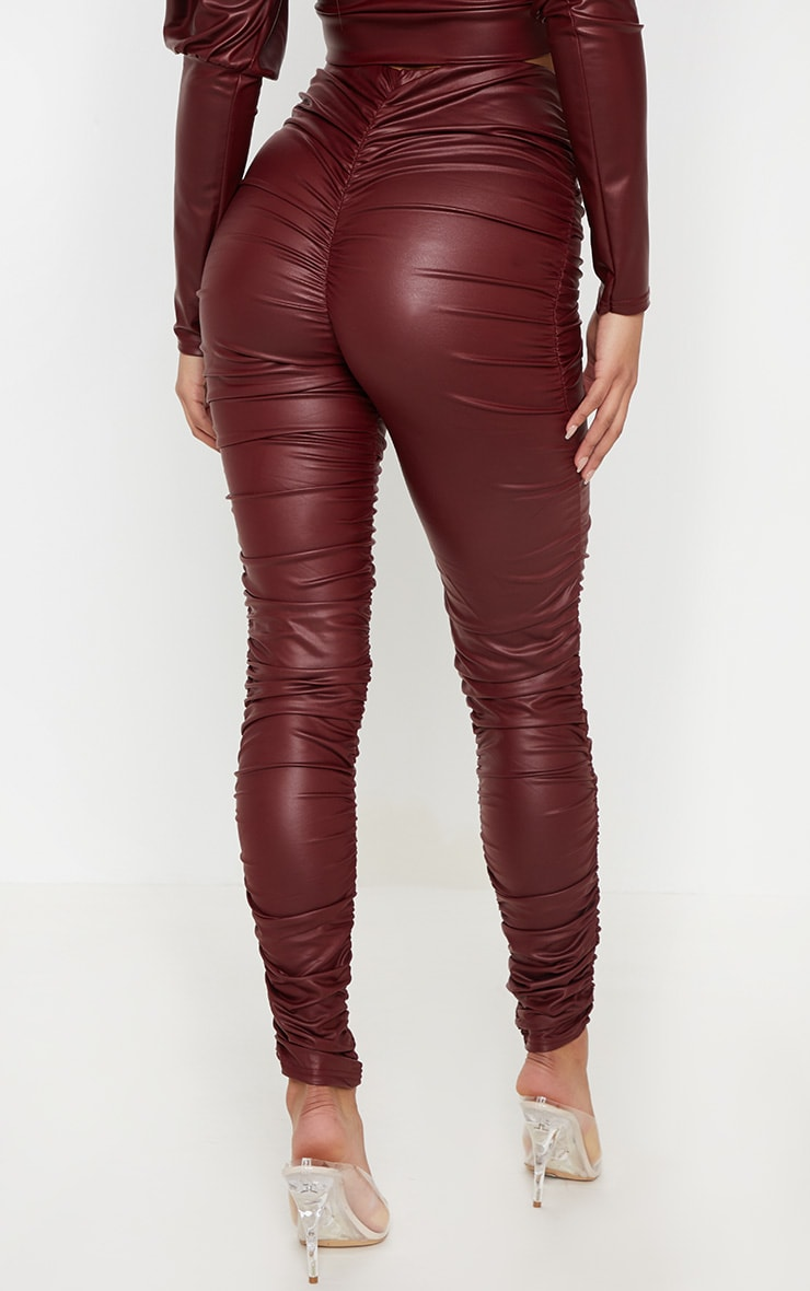 Maroon Coated Ruched Side Legging 4