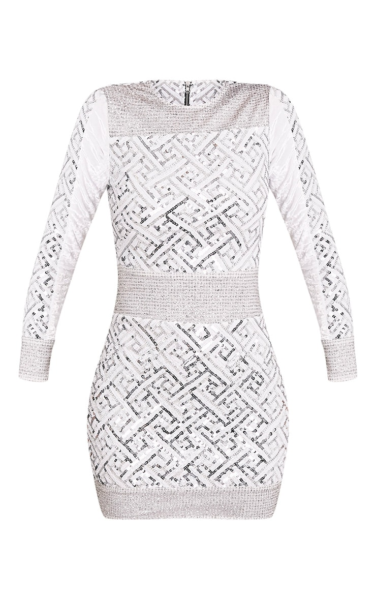 Kimya Silver Premium Sequin Velvet Panel Bodycon Dress 4