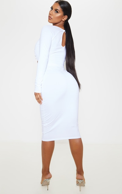 White Long Sleeve Lace Up Detail Cut Out Midi Dress