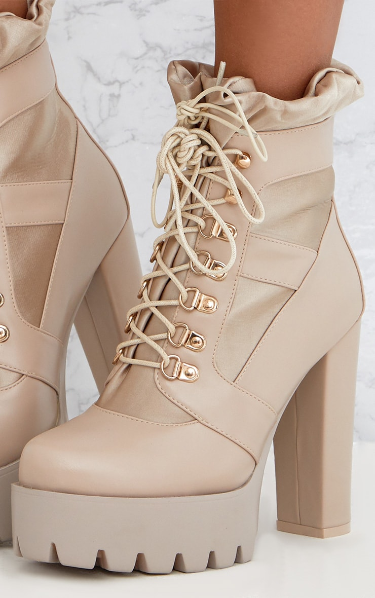 Beige Ruched Lace Up Platform Ankle Boots 5