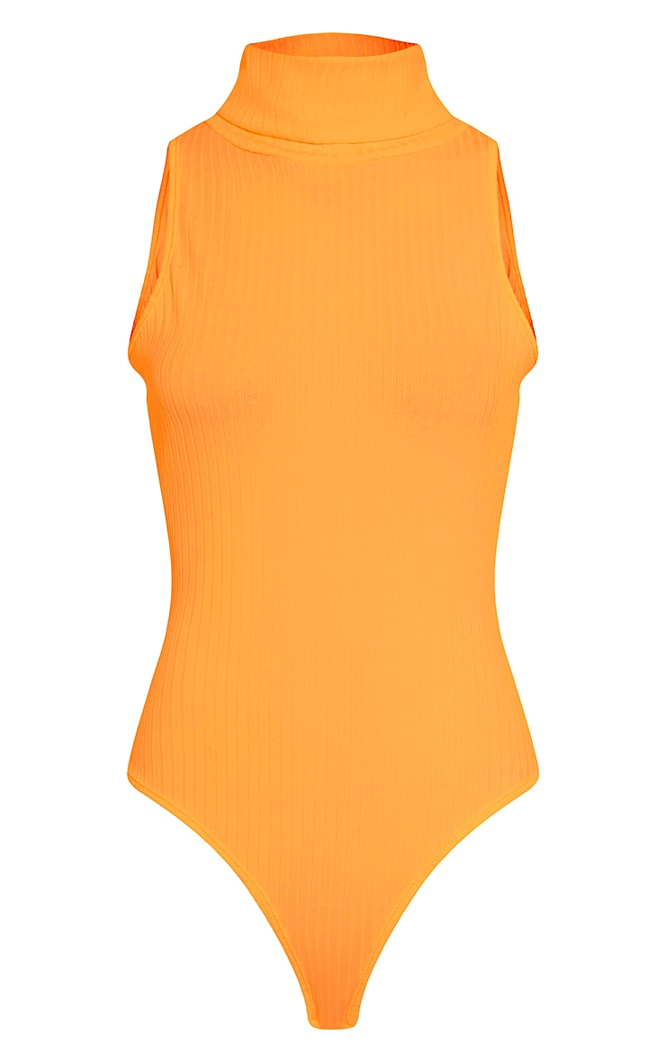 Lydia Bright Orange Ribbed Turtle Neck Bodysuit 5