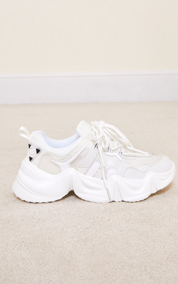 White PU Wave Gritted Sole Contrast Trainers 4