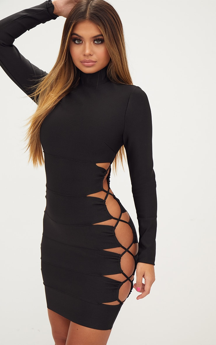 Black Bandage Lace Up High Neck Bodycon Dress 1