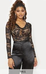 Tall Black Sheer Lace Long Sleeve Bodysuit image 1 8cd56015c