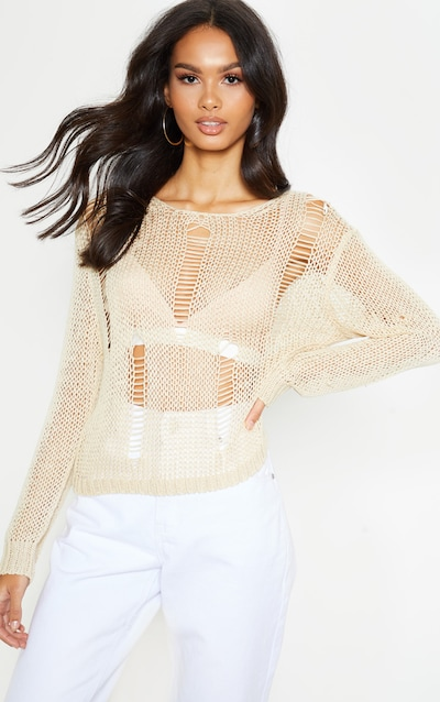 Stone Distressed Crochet Long Sleeve Top