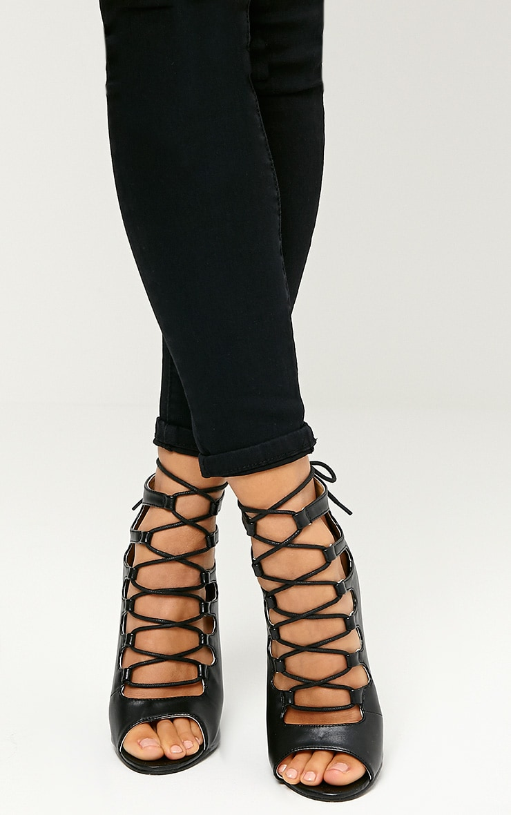 Tiggy Black Lace Up Heeled Sandals 3