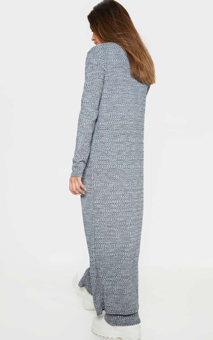 Grey Knitted Maxi Cardigan  2