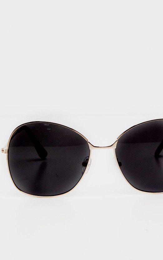Black Oversized Square Lens Gold Metal Frame Sunglasses 2