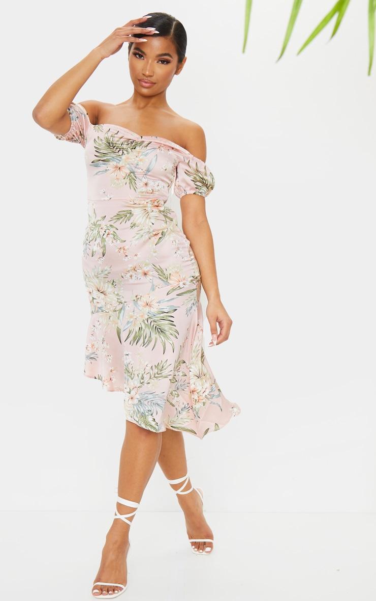 Baby Pink Floral Print Bardot Asymmetric Frill Midi Dress 2