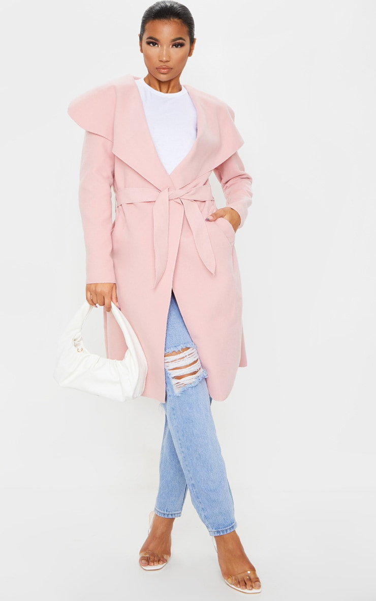 Veronica Dusty Pink Oversized Waterfall Belt Coat 3