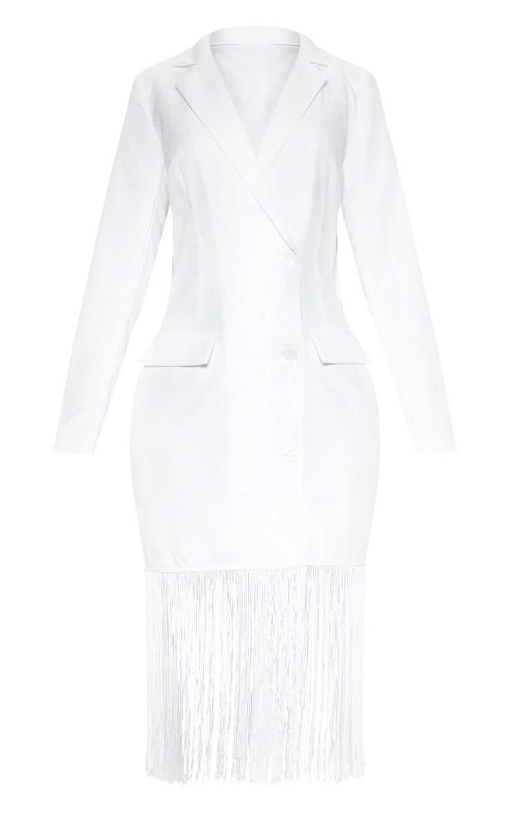 White Tassel Open Back Blazer Dress 3