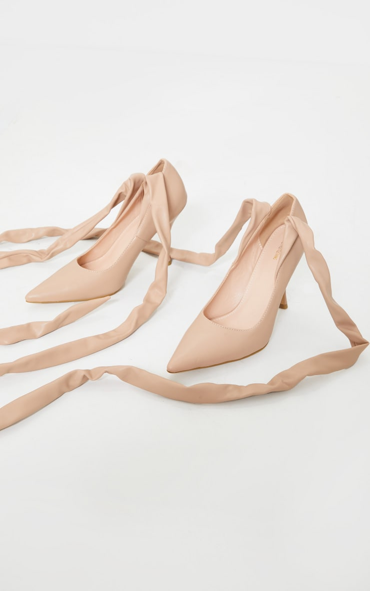 Nude PU Ankle Tie Court Shoe 3