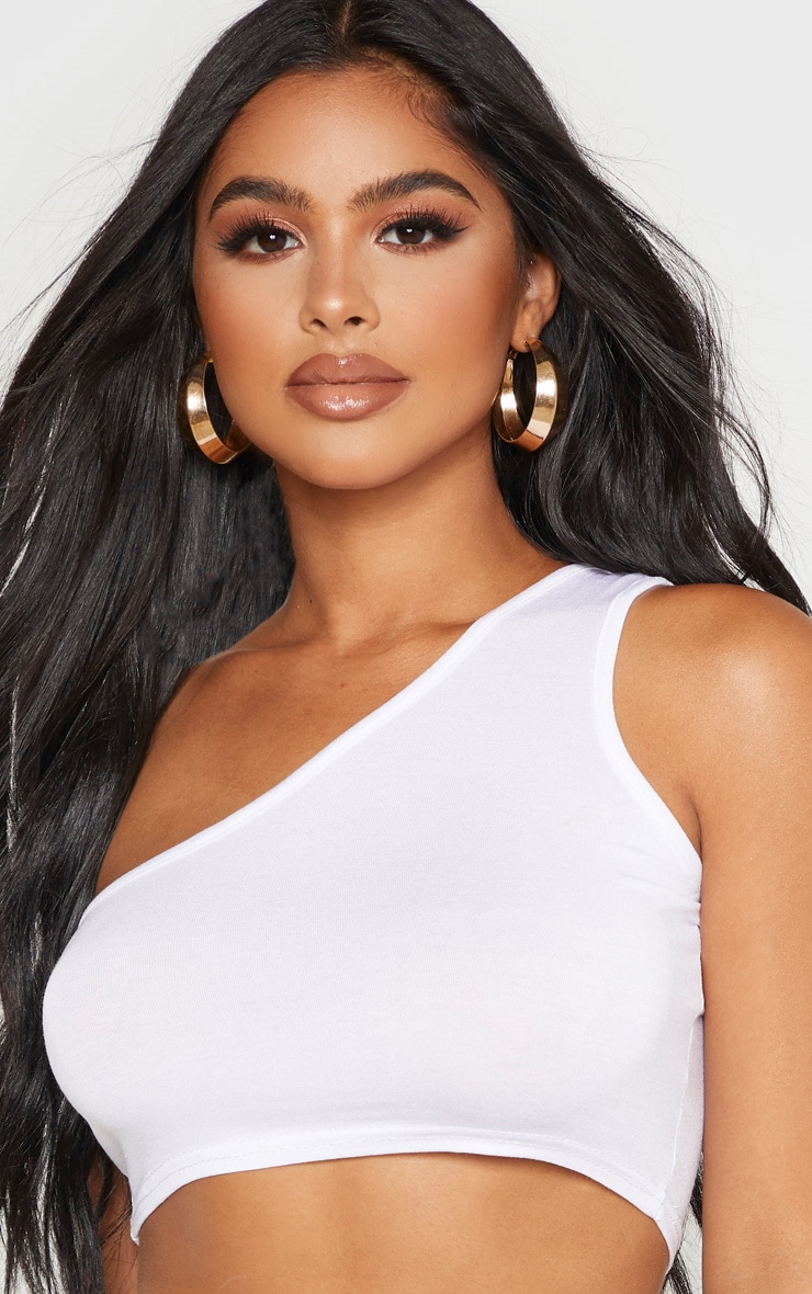 Petite White One Shoulder Crop Top  5