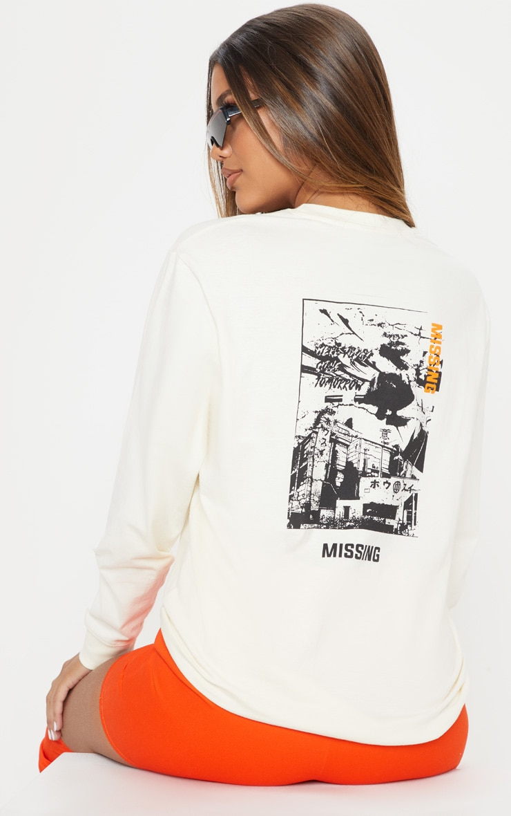 Cream Missing Slogan Printed Long Sleeve T-shirt