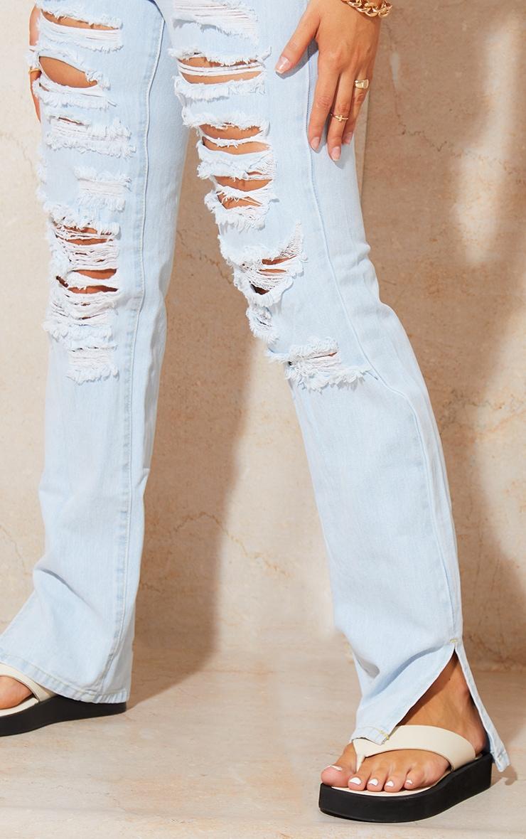 Bleach Wash Full Ripped Split Hem Jeans 4