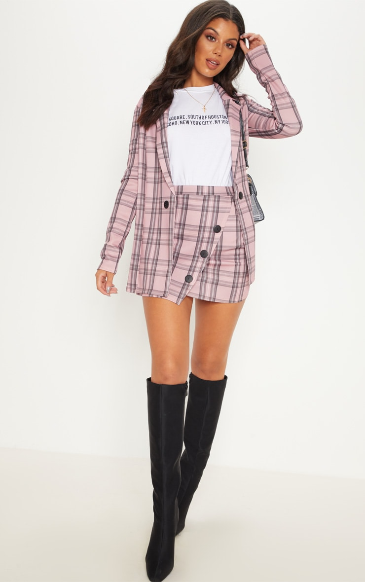 Pink Check Button Skirt 1