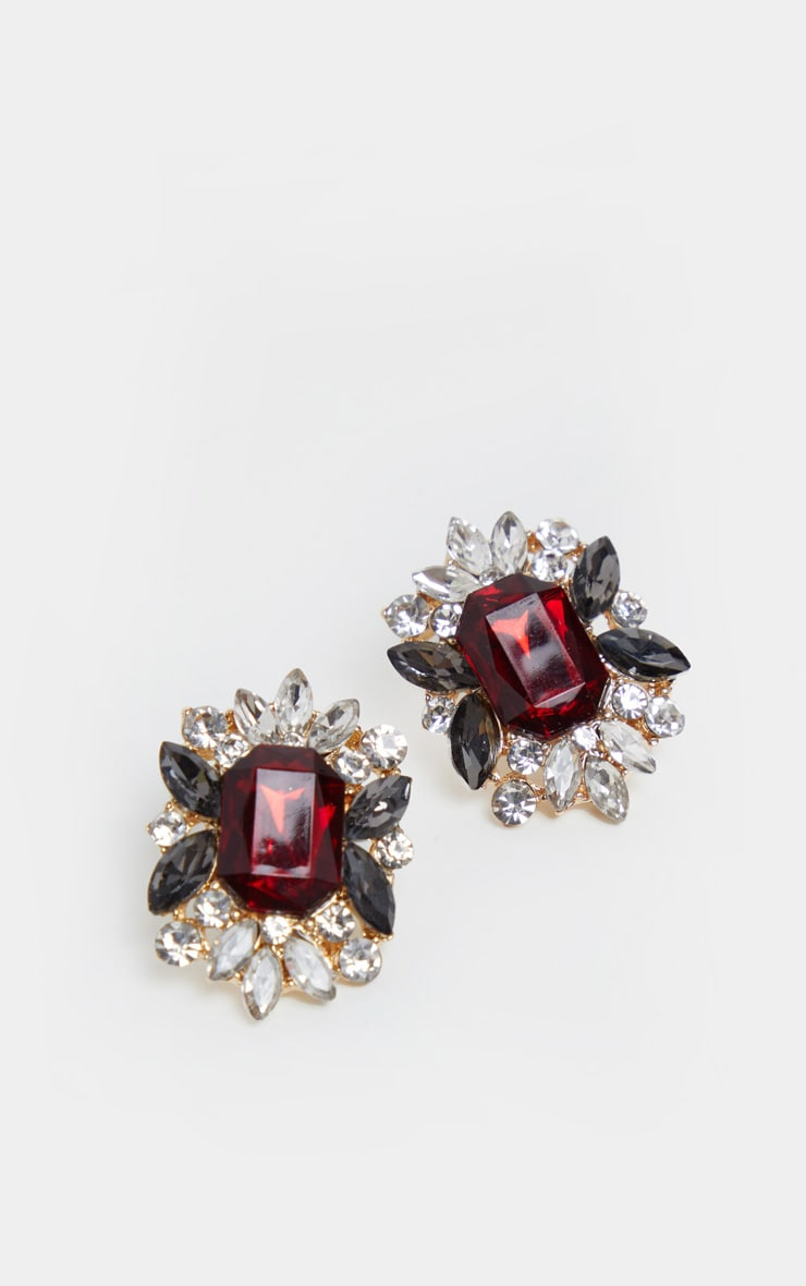 Red Diamante Crystal Border Stud Earrings 2