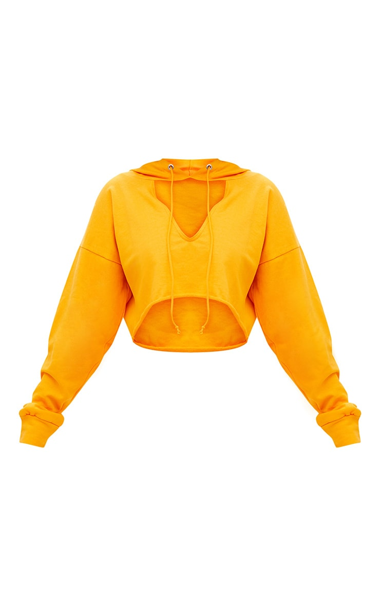 Shape Orange Crop Open Neck Hoodie 4