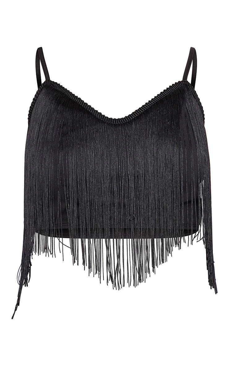 Black Tassel Trim Crop Top  3