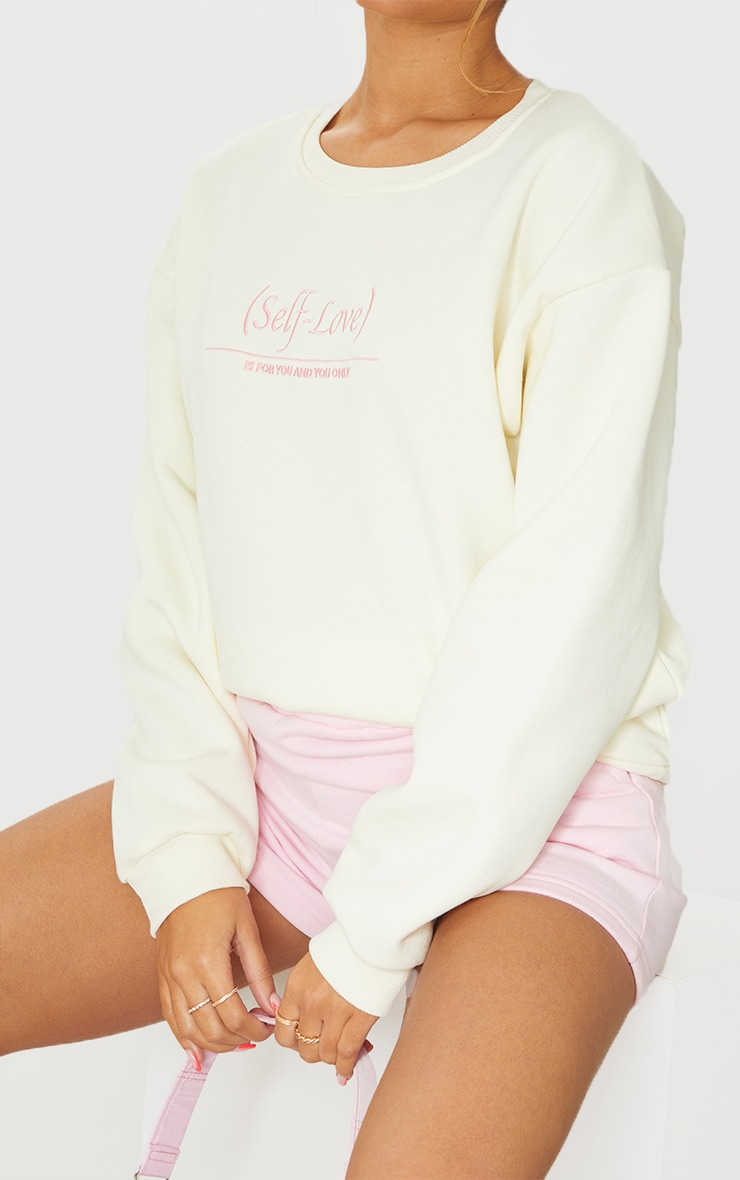 PRETTYLITTLETHING Cream Self Love Club Embroidered Sweatshirt 4
